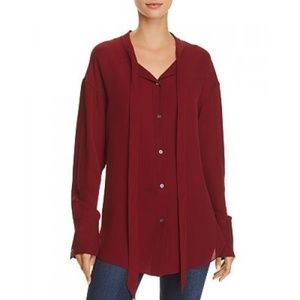 NEW Theory Weekender Tie Neck Silk Blouse Small